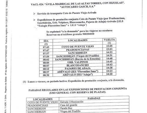 Servicio de transporte Coto de Puenteviejo-Arévalo