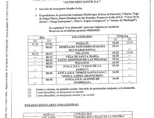 Servicio de transporte Maello-Ávila