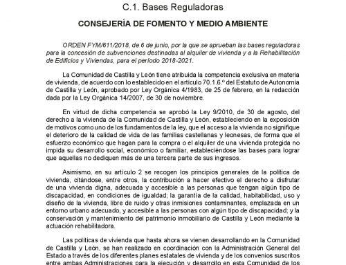 Bases Reguladoras para la concesión de subvenciones destinadas al alquiler de vivienda y a la Rehabilitación de Edificios y Viviendas.