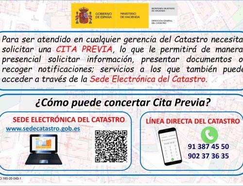 Comunicación de la Dirección General del Catastro. Cita previa